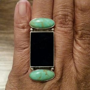 Turquoise and Black Oynx Ring